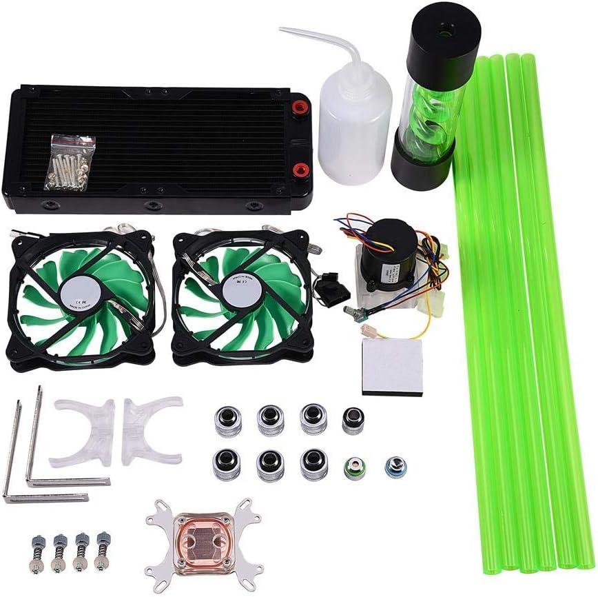 Yoidesu Water Cooling Kit,DIY PC Water Cooling Kit,PC 240mm Heat Sink CPU Water Block LED Fan Computer Cooling Kit Water Chiller Water Cooling Systems