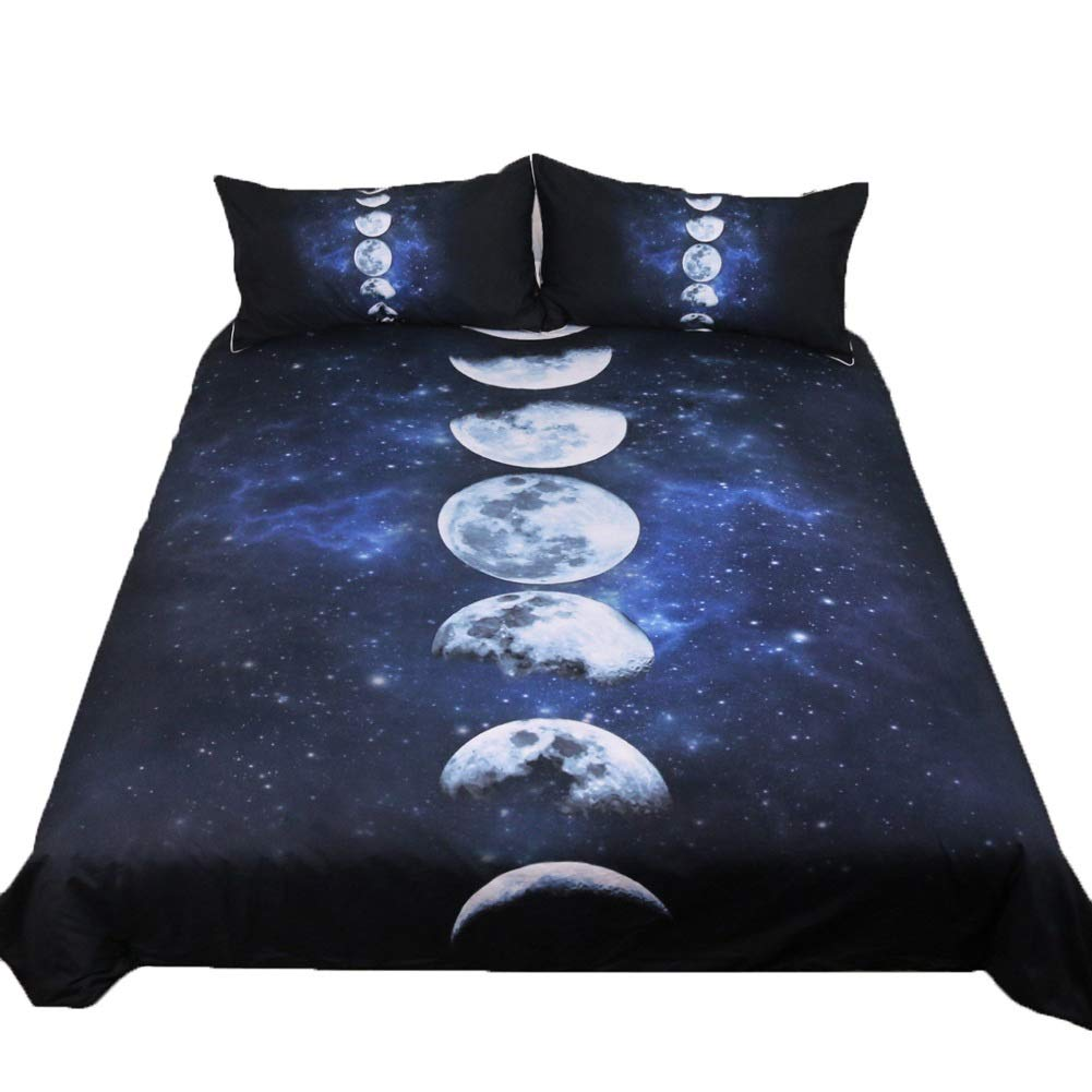Bedding Duvet Cover Set Quilt Duvet Cover and 2 Pillowcase Bed Set with Zipper Closure Fade & Stain Resistant Eclipse Pattern (Size : 140x210cm) by OZYN-Duvet Covers
