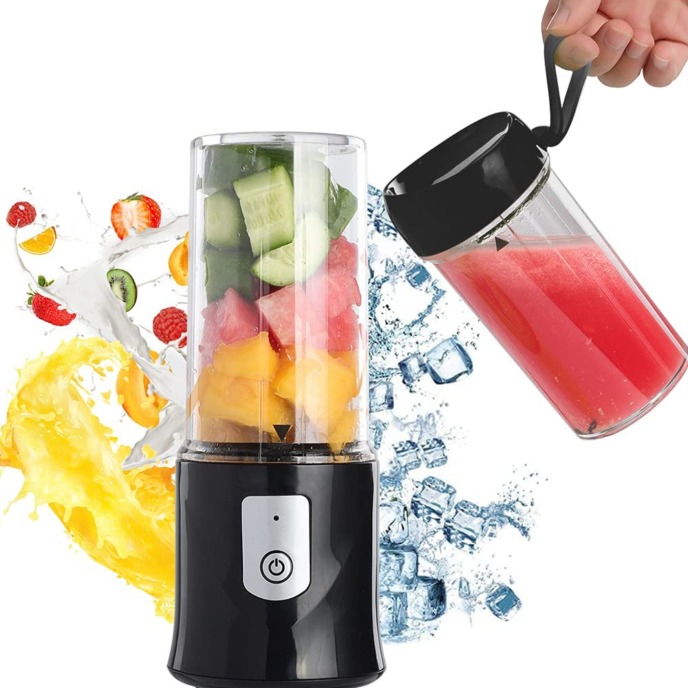 Toycol Portable Blender Personal Size Blender Bottles for Shakes and Smoothies USB Rechargeable Mini Fruits Juicer Cup BPA Free Wireless 6 Blades Strong Power Ice Mixer with 2 Bottles Gift Box Set 10.8 OZ (Black)