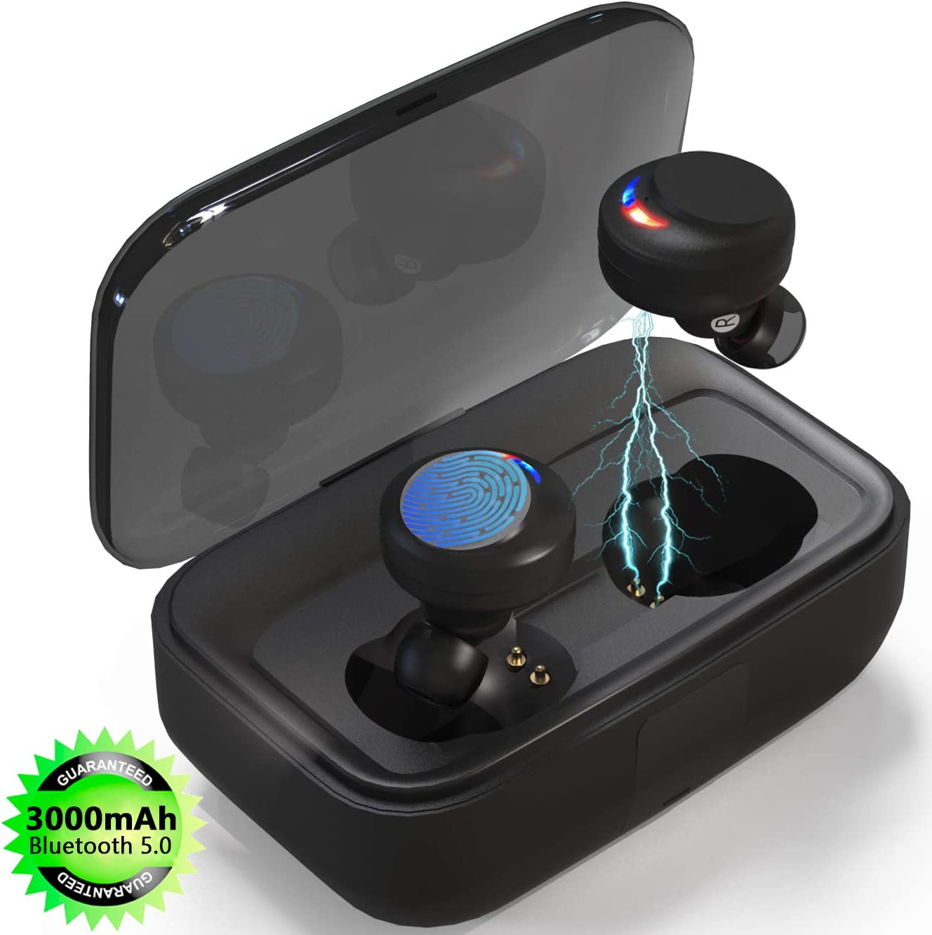 Wireless Earbuds, Bluetooth 5.0 Headphones Touch Earphones IPX8 Waterproof 3D Hi-Fi Sound with Deep Bass Ture Wireless Stereo in-Ear Wireless 3000mAh Magnetic Charging Case