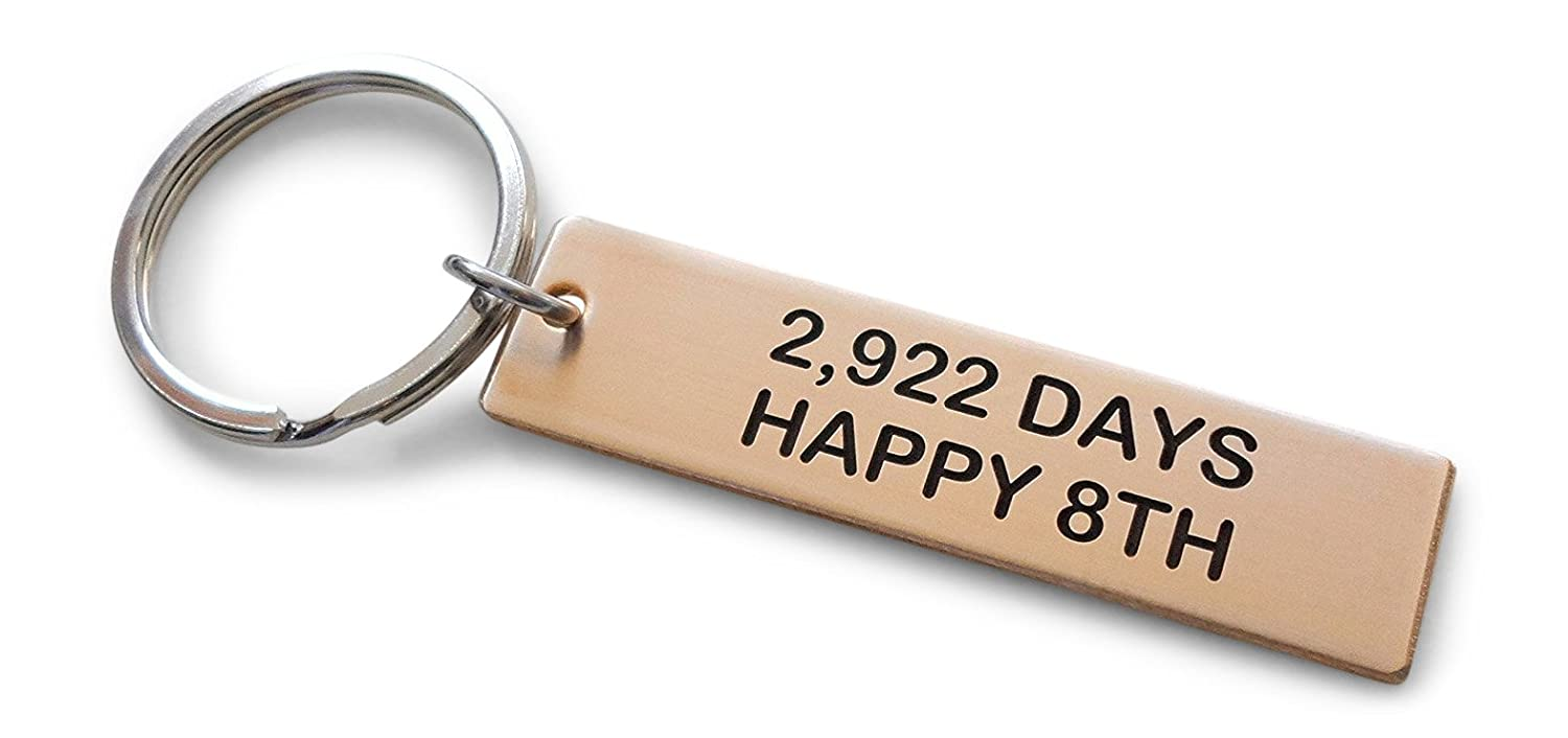 Bronze Tag Keychain Engraved 2,922 Days, Happy 8th Handmade 8 Anniversary JewelryEveryday 32914000226