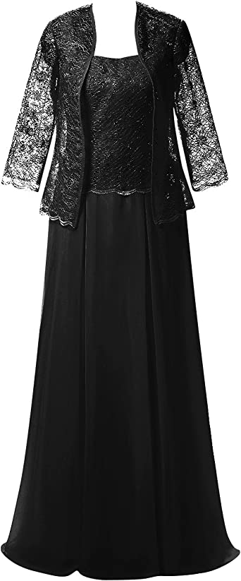 Mother of The Bride Dress Evening Gown with Jacket Chiffon Lace Long Plus  Size