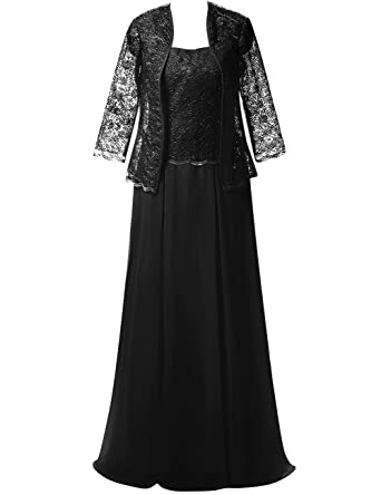 fbc419b574c Mother of The Bride Dress Evening Gown with Jacket Chiffon Lace Long Plus  Size Black US2