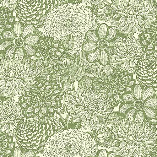 Wilmington Prints Le Bouquet Green Floral Toile