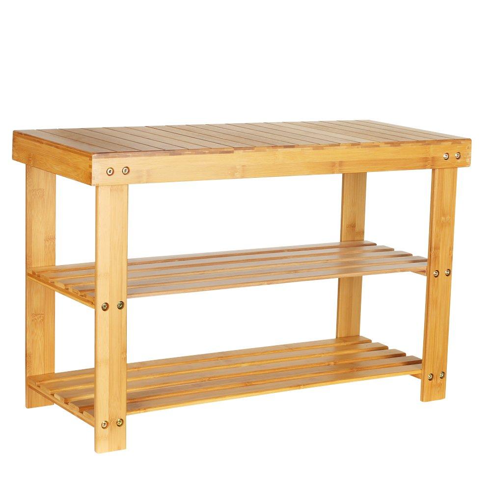 eclife Natural Bamboo Shoe Rack Bench 2 Tier Shoe Rack Storage Organizer for Entryway, Hallway, Bedroom, Living Room Bathroom S01N