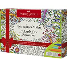 Faber-Castell Adult Coloring Book Gift Set With 60 Felt Tip Pens (Colouring for Relaxation)