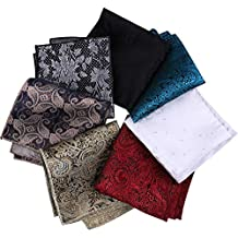 Driew 7 Pcs Vintage Style Pocket Square with Floral Pattern for Men (Set 1)