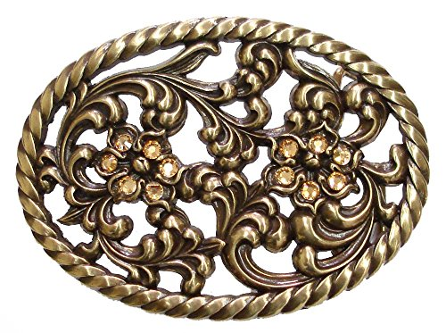 (Antique Brass Finish Engraved Floral Cutout Belt Buckle with Rhinestone)