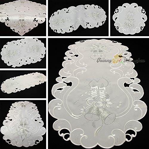Dezente Weihnachten Tischdecke Läufer Tisch-Deckchen Set Weiß mit Silber Kerze Stickerei (ca. 35x70 cm oval)