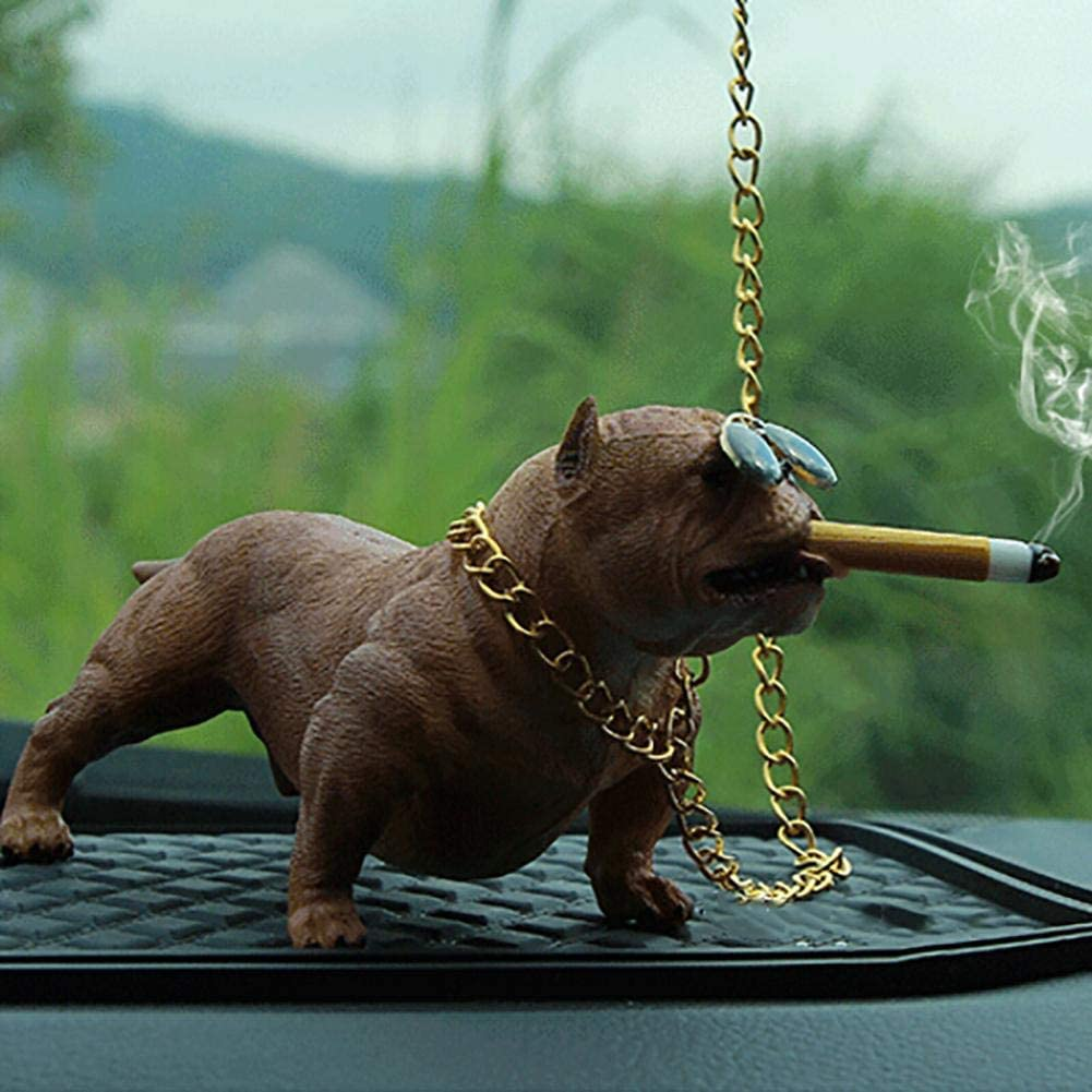 waterfaill Ornamento di Auto Bully Dog Cartoon Doll Decorazione di Automobili Bully Pitbull Simulato Car Dog Ornamenti per Bambole