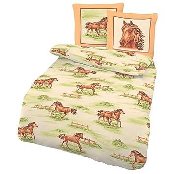 Bettwaren Wäsche Matratzen Biber Bettwäsche Pferde Grün Weiß