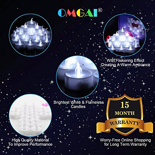 OMGAI 24 PCS LED Tea Lights Candles Battery-Powered Small Bright Flickering Flameless Candles for Home Decoration - Cool White by OMGAI (Image #5)