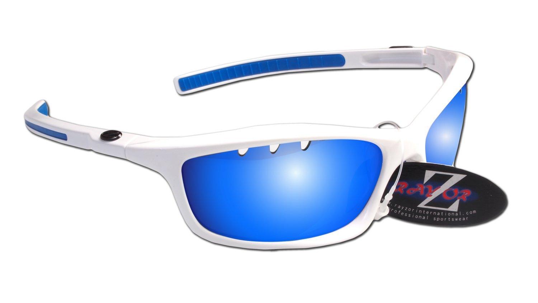 RayZor Professional leichte UV400White Sports Wrap Ski Snowboard Sonnenbrille, mit einem belüfteten blau Iridium verspiegelt Blendfreie Objektiv