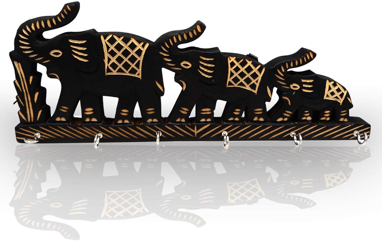 Indus Lifespace Soporte de Llave montado en la Pared de Madera de 3 Elefantes Hecho a Mano con 6 Ganchos de Llave para organizar Prop/ósito 13.5 Pulgadas