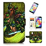 ninja turtle cases for galaxy s5 - (For Samsung S5, Galaxy S5) Flip Wallet Case Cover & Screen Protector Bundle - A21356 TMNT Ninja Turtle