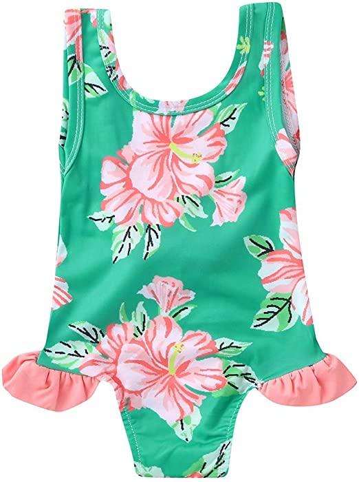 Toddler Kid Baby Girl Ruffled Sleeve Beachwaer Bikini Bathing Swimwear Tankini