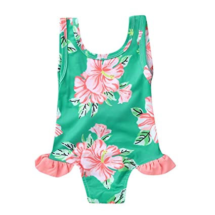 83b52c5db3102 Amazon.com: AutumnFall Cute Baby Girl Swimwear One Piece Floral Pattern  12M-5Y Girls Swimsuit Kid Children Swimming Suit (Age:18-24 Months, Green):  Garden & ...