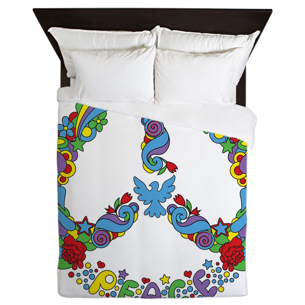 Queen Duvet Cover Pop Art Peace Symbol Flowers Stars by Royal Lion