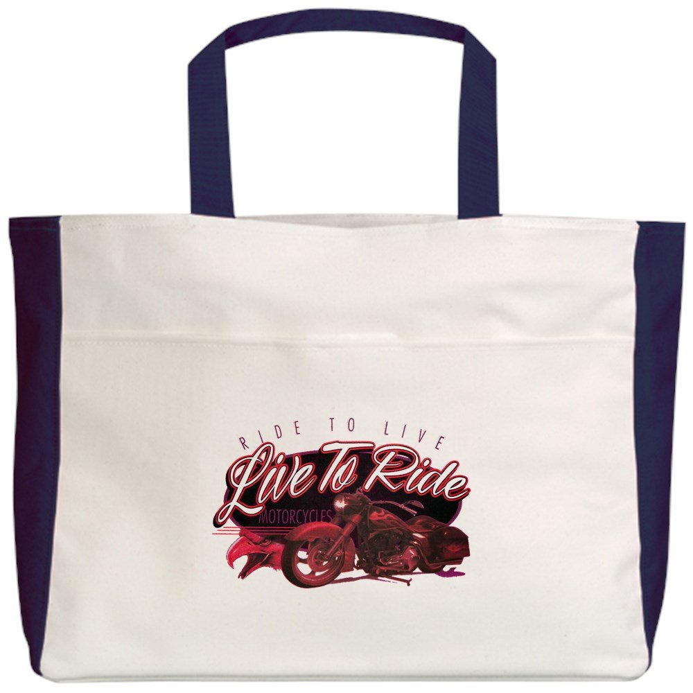 Royal Lion Beach Tote (2-Sided) Live to Ride Ride to Live Hogs Bikes - Navy