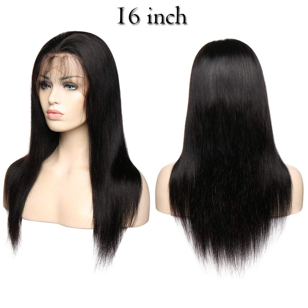 Amazon.com: Peruvian Remy Hair Natural Straight Wigs With Baby Hair Pre Plucked Lace Front Human Hair Wigs For Women Brazilian Virgin Human Hair 16