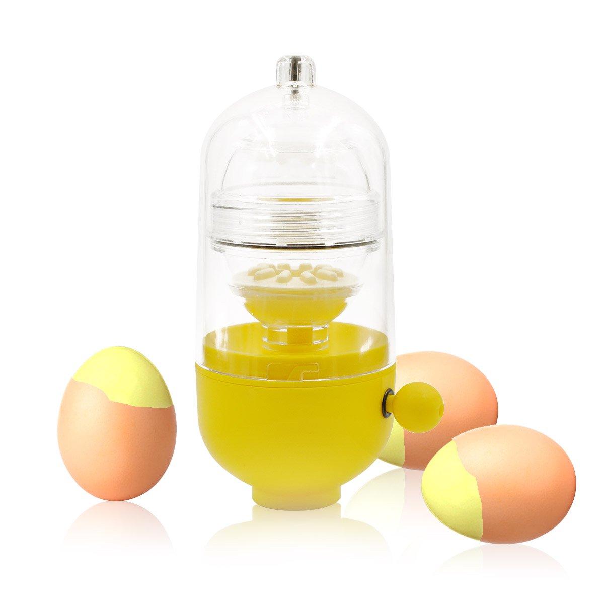 PROKITCHEN Hand Powered Golden Egg Scrambler Shaker Amazing Beater Maker for Mixing Yolk and White Inside Egg Shell, Yellow