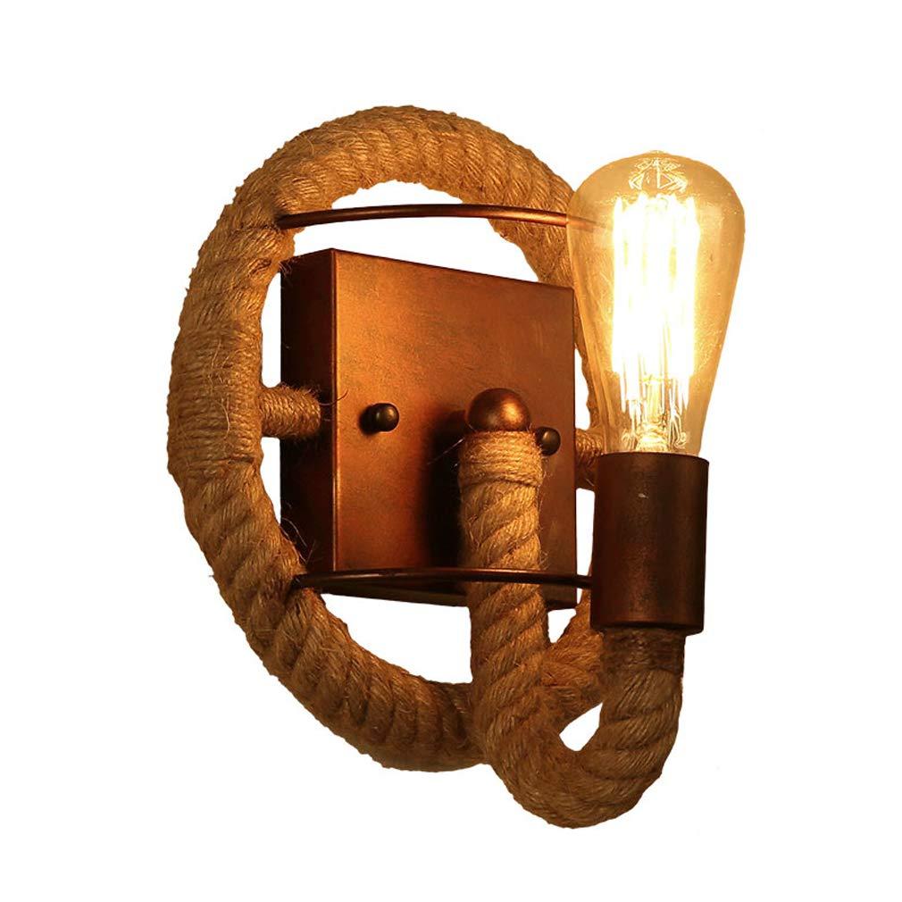 MEIJUAN HandGefertigte Hanfseil Wand helle Wohnzimmer Schlafzimmer Bett Wand Lampe Retro kreative Treppe Gang eiserne Wand Sconce Lampen