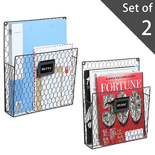 Set of 2 Wall Mounted Chicken Wire Magazine Organizer Rack with Chalkboard Label, - Wall Rack Wire