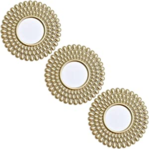 Small Wall Mirrors Decorative Living Room Set of 3   Round Mirrors for Wall Decor Bedroom   Circle Mirror Wall Decor   Decorative Mirrors Home Accessories (style0012)