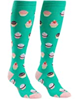 Sock It To Me Let Them Eat Cupcakes Women's Knee High Socks, Funny Calf Socks, Casual Novelty Womens Sock, Fits Women's 5-10