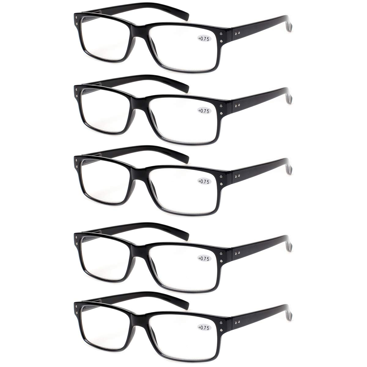 Reading Glasses 5 Pairs Quality Readers Spring Hinge Glasses for Reading for Men and Women (5 Pack Black, 1.50) by Norperwis