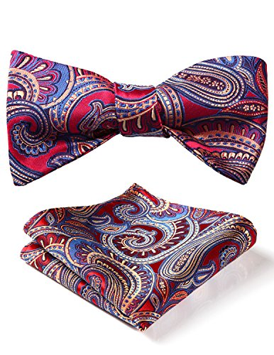 (BIYINI Men's Paisley Floral Jacquard Woven Party Self Bow Tie Set Red / Blue )