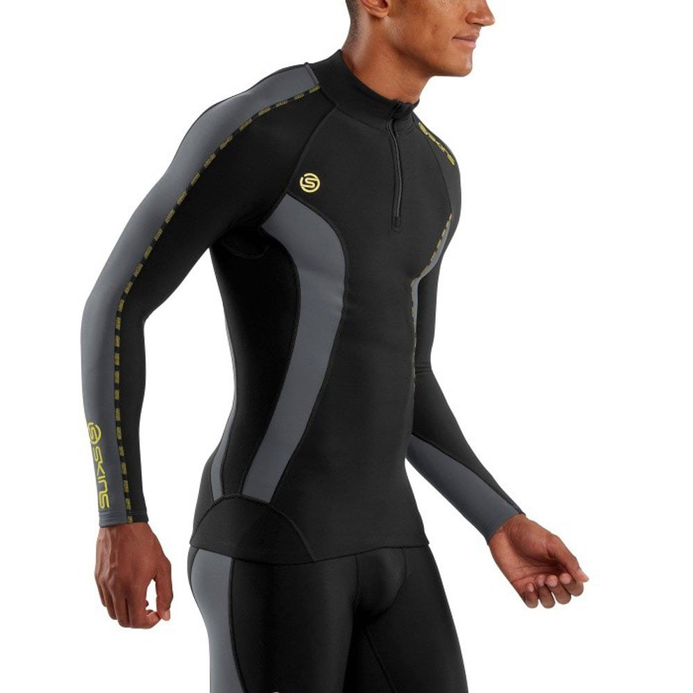 Skins Mens DNAmic Men's Thermal Compression Long Sleeve Mock Neck with Zip Top, Black/Pewter, Small by Skins (Image #5)