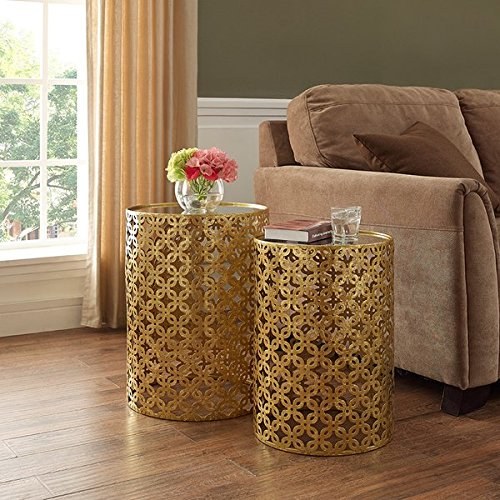 Set of Two Contemporary Round Gold Nested Tables with Mirror Tops (OSLN). Glamorous Design and Style in Gold Leaf Finish Nesting Tables. Assembly Required - 2 Piece Nested Accent Tables