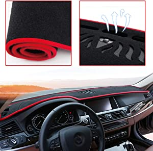 ytbmhhuoupx Dashboard Cover for Toyota Prius 2010-2015 Dashboard Carpet Original Car Custom Dash Mat Anti-Glare Polyester Black and Red