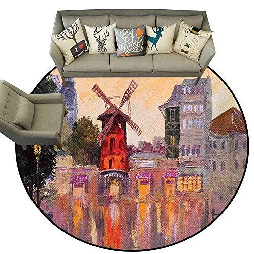 Anti Slip Round Doormat Indoor,European,Painting of Moulin Rouge in Paris City Centre of Love Vintage France Art Print,Multicolor,Diameter Circular Carpets for Office,3