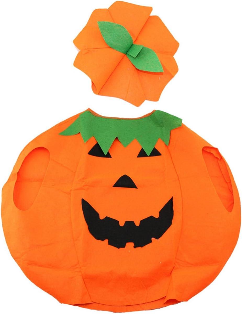 Unisex Adult Halloween Party Orange Pumpkin Unisex Costume Set A Hat