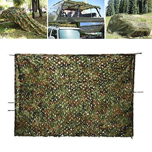 Woodland Camo Net, OUTERDO 6.6ft x 10ft Camouflage Netting Military Desert Camo Netting Camping Hunting Shooting Blind Sunscreen Netting Camouflage Party Decoration on Halloween Christmas