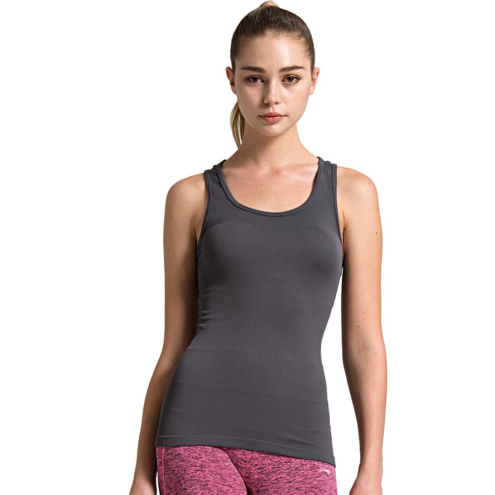 1pack Grey Semath Tank Top for Women, Running Workout Clothes Athletic Yoga Racerback 16 Pack