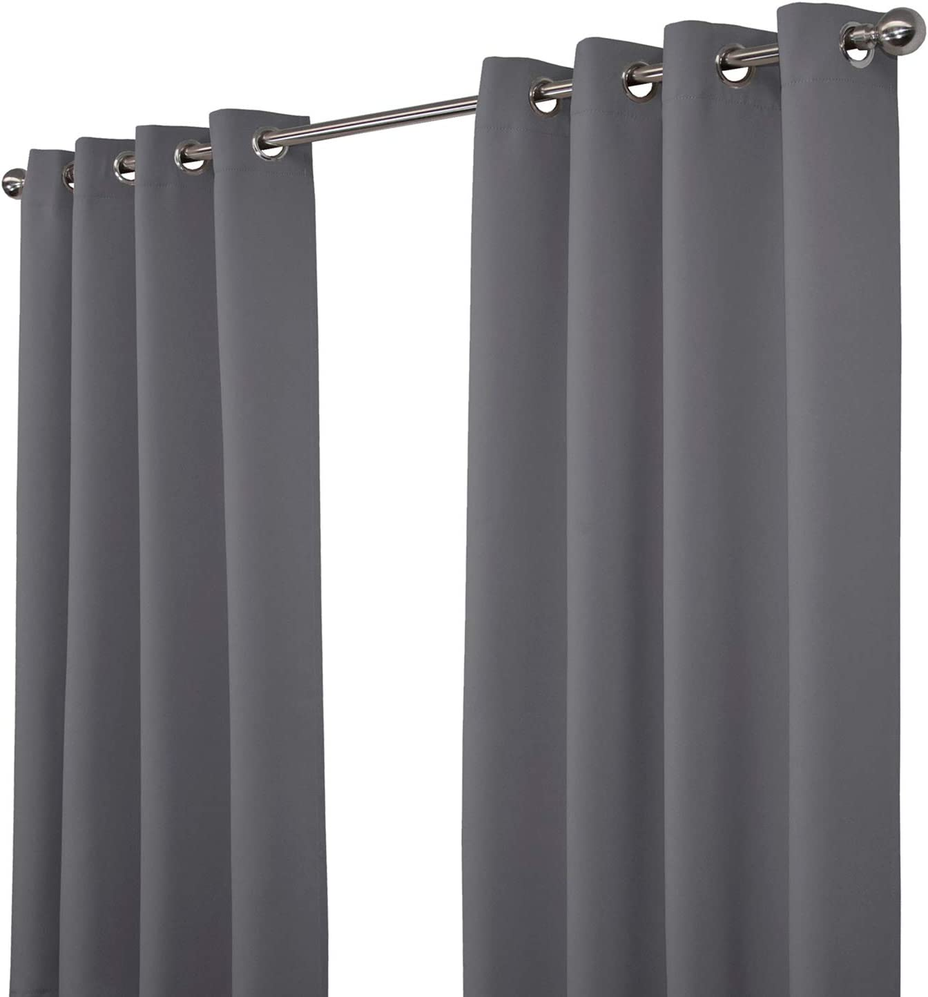 """NIM Textile Thermal Insulated Blackout Curtains Room Darkening Window Panel Grommet Top Drapes - Sofiter Collection - 110"""" Total Width, 2-Panels Set, 55"""" W x 63"""" L, Dark Grey"""