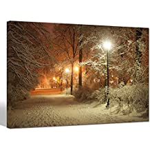 Sea Charm - Warm Winter Park,Alley in Park and Shining Lanterns Picture Photo Canvas Wall Art,USA Landscape Canvas Print,Modern Home Living Room Decoration Framed Ready to Hang Wall Art