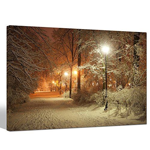 (Sea Charm - Warm Winter Park,Alley in Park and Shining Lanterns Picture Photo Canvas Wall Art,USA Landscape Canvas Print,Modern Home Living Room Decoration Framed Ready to Hang Wall)