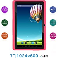 "Haehne 7"" Tablet PC, Google Android 6.0 Quad Core, 1G RAM 8GB ROM, Cámaras Duales 2.0MP + 0.3MP, 1024x600 HD Pantalla, WiFi, Bluetooth, Rosado"