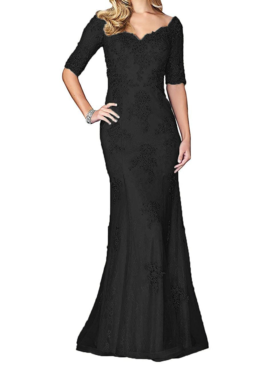 Black tutu.vivi Women's V Neck Lace Appliques Mermaid Mother of The Bride Dresses Half Sleeves Long Prom Dresses