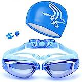 5 in 1 Swimming Goggles glasses Swim Cap Nose Clip Ear Plugs Case Blue