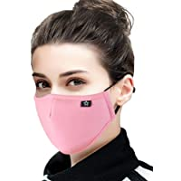 Cotton Dust Face Mask with replaceable PM2.5 Activated Carbon Filter Air Pollution Mask for Running, Traveling, Cycling Washable and Reusable Warm Windproof Mask (Pink)