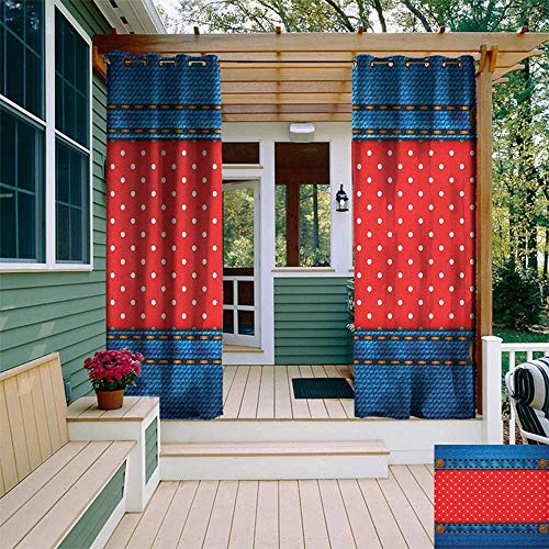 leinuoyi Polka Dots, Outdoor Curtain Pole, Jeans Pockets Frame Print with Little Polka Dots Traditional European Art Design, Outdoor Curtain Set for Patio Waterproof W96 x L108 Inch Blue Red
