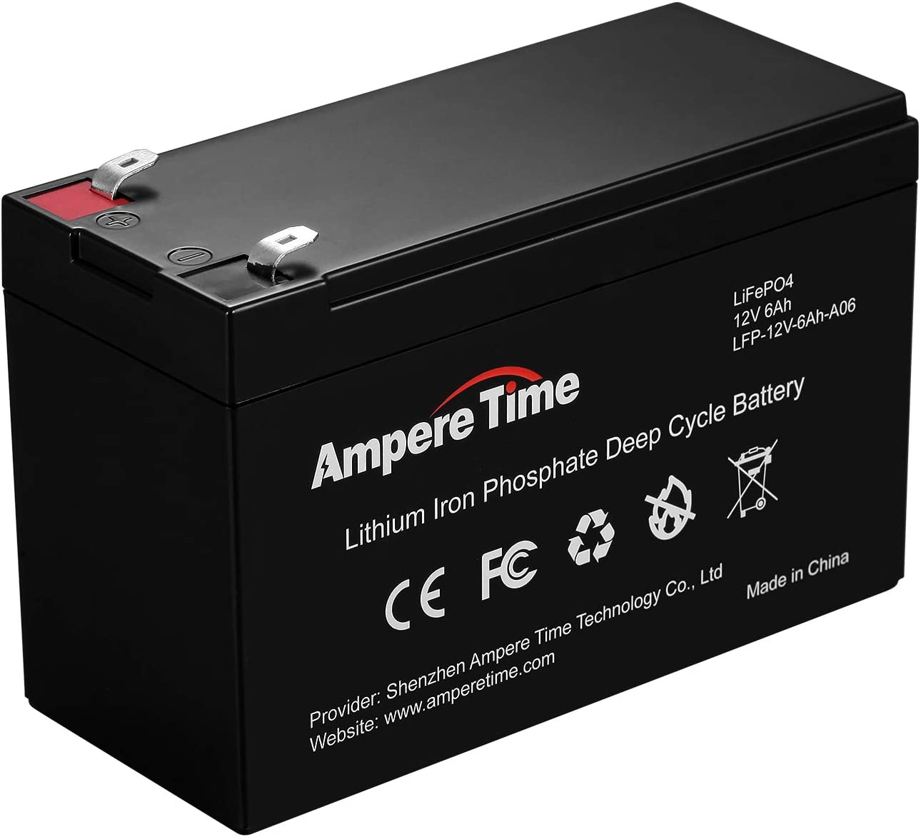 Ampere Time 12v 6ah Lithium Iron Phosphate Battery Rechargeable Lifepo4 Battery Low Self Discharge And Light Weight Provide 3 Years Warranty Auto