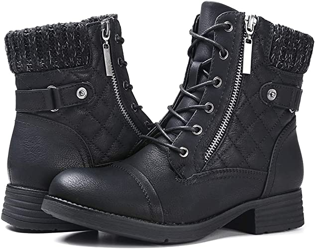 STQ Women\u0027s Combat Boots Lace up Ankle Booties