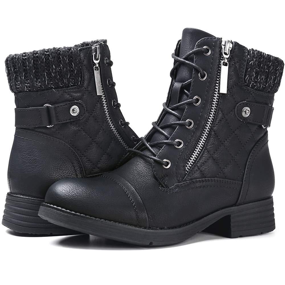 STQ Women's Marion Fashion Boots Women's Combat Booties Black 9 by STQ