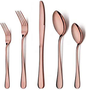 Copper Silverware Flatware Set, LIANYU 20-Piece Stainless Steel Cutlery Set for 4, Mirror Finish, Ideal for Home Hotel Wedding Festival Party, Dishwasher Safe